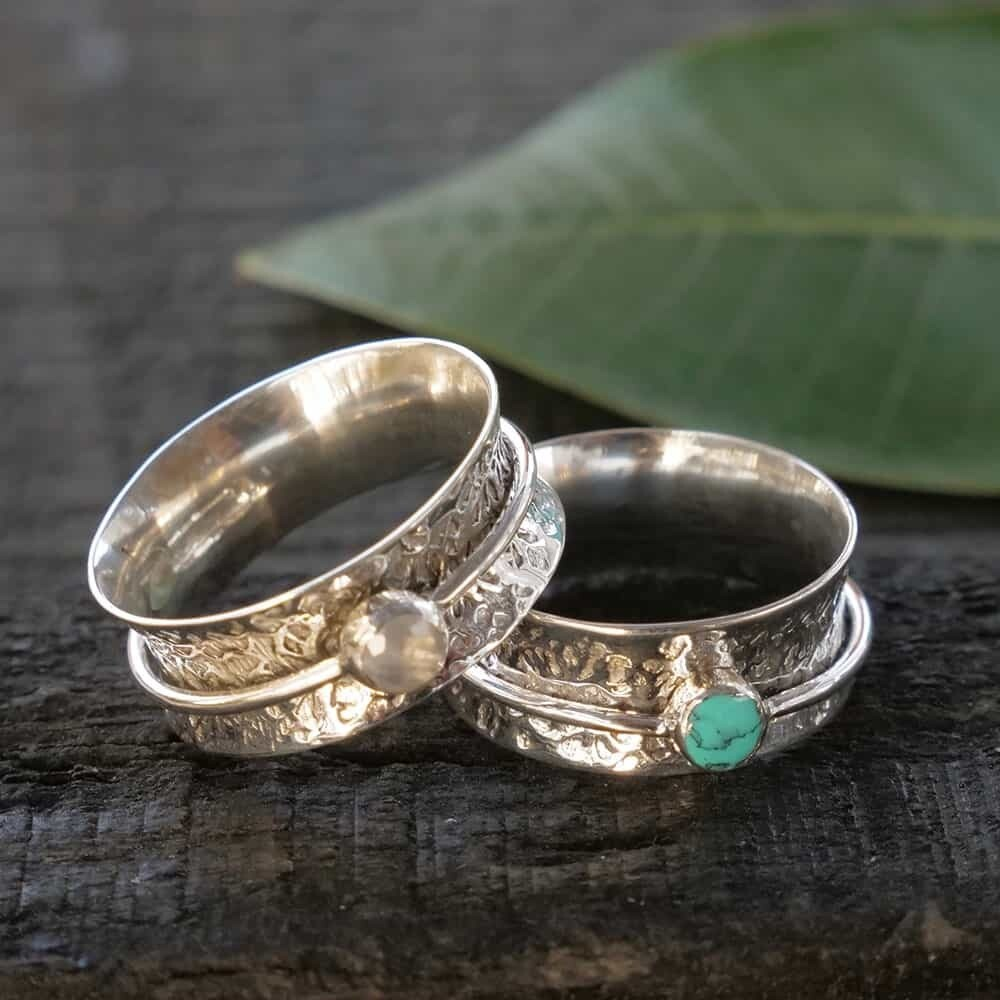 Sterling Silver Meditation Ring with Stone