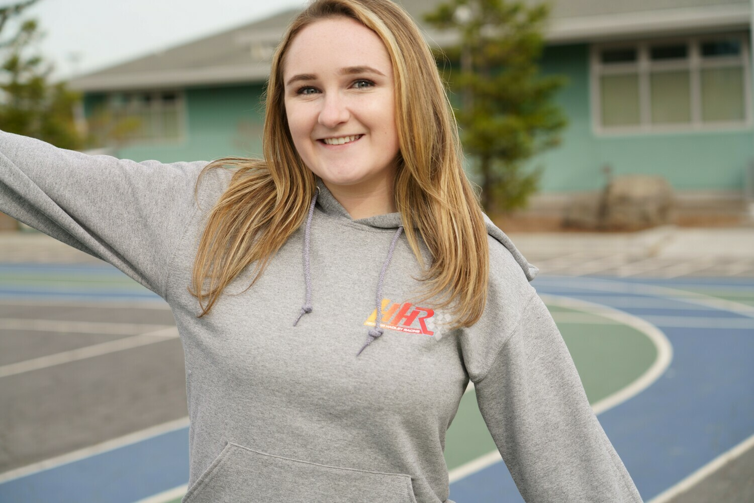 Heather Hadley Grey Hoodie with White Outline