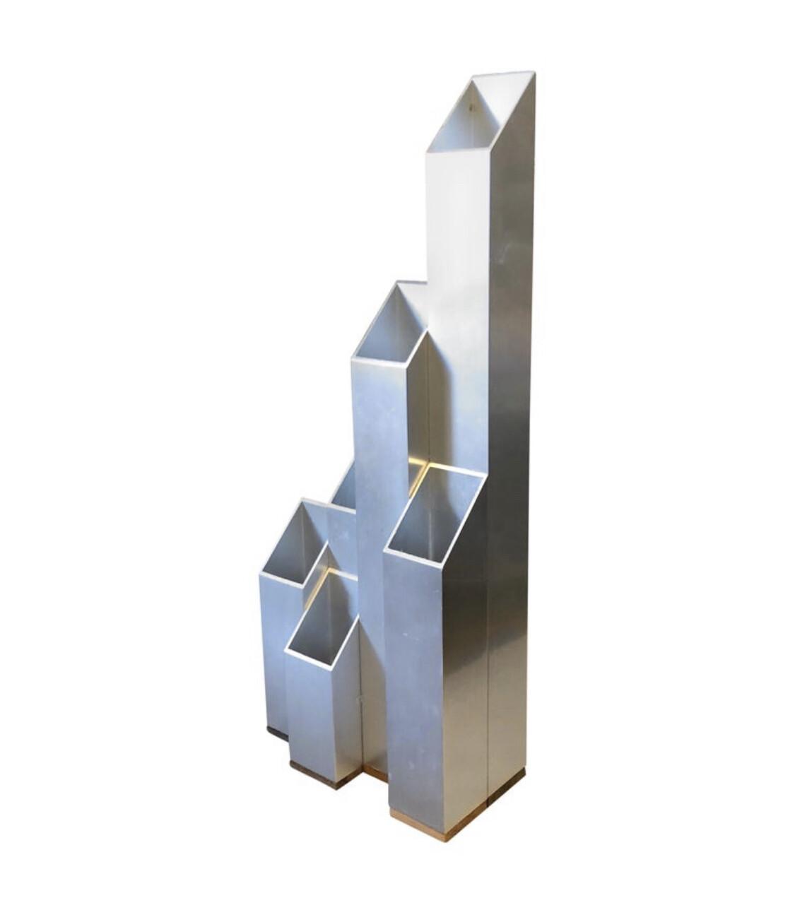 Modernist Aluminium and Wood Italian Vase, circa 1970