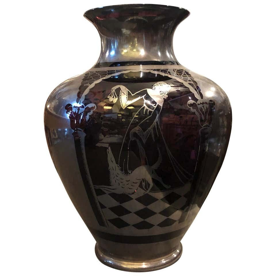 Art Deco Sterling Silver and Purple Glass Italian Vase, circa 1930
