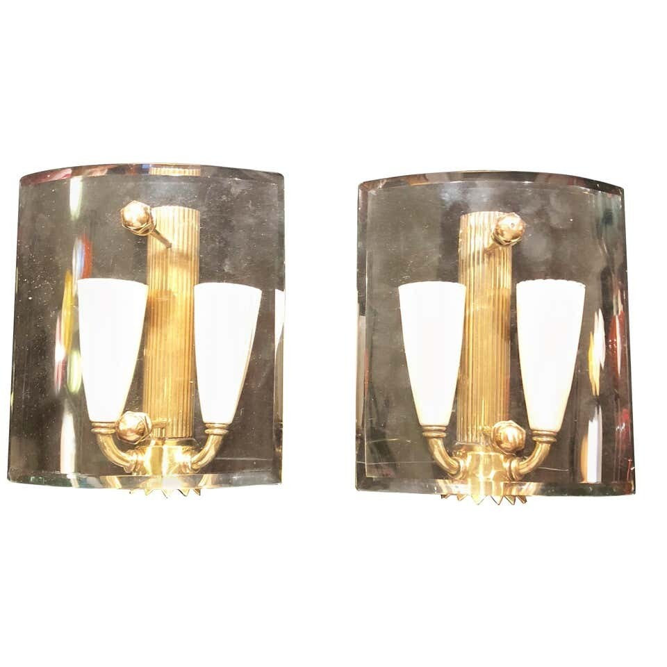 Set of Two Mid-Century Modern Italian Brass and Glass Squared Wall Sconces, 1950