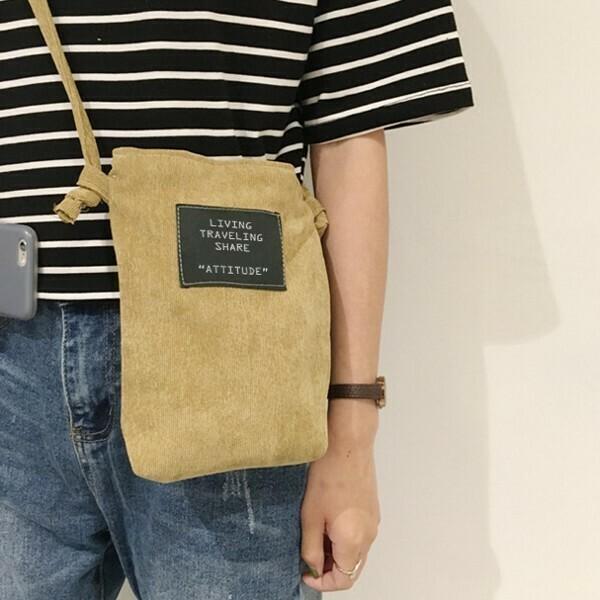 Túi vải đeo chéo mini – Màu Nâu Da bò