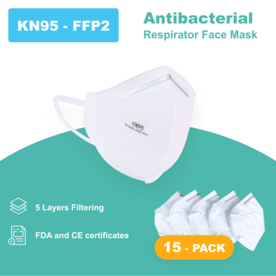 N95 - Antibacterial Reusable Face Mask - 15 PACK