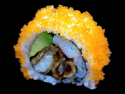Mighty Spider: softshellkrab | avocado | snowkrab | mayo | avocado | kuit | sesam | wasabi (5st)