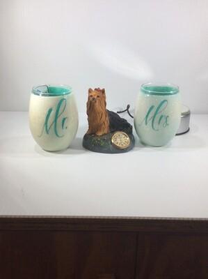 Mr and Mrs. Stemless Wine glasses
