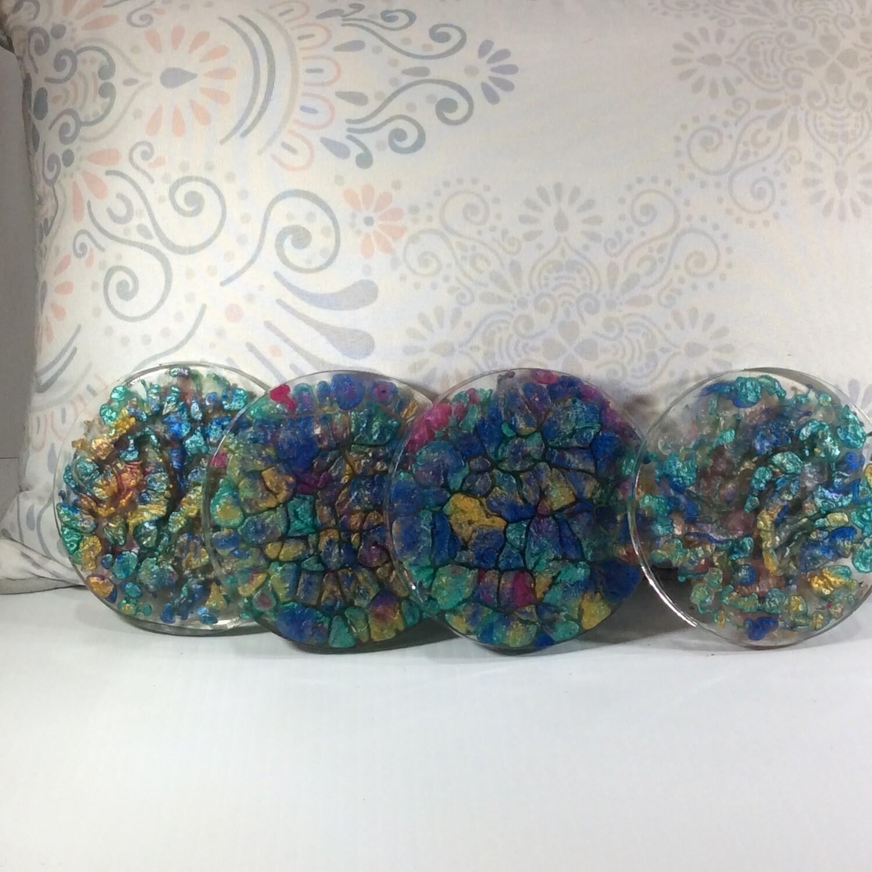 Multi color epoxy coasters