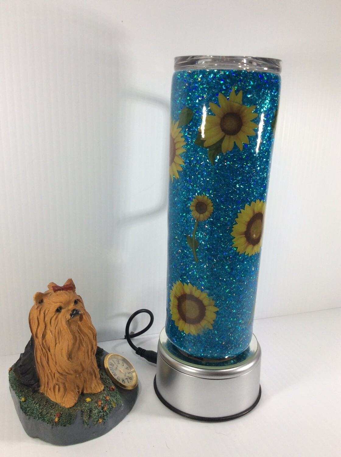 Sunflower stainless steel tumbler with a handle