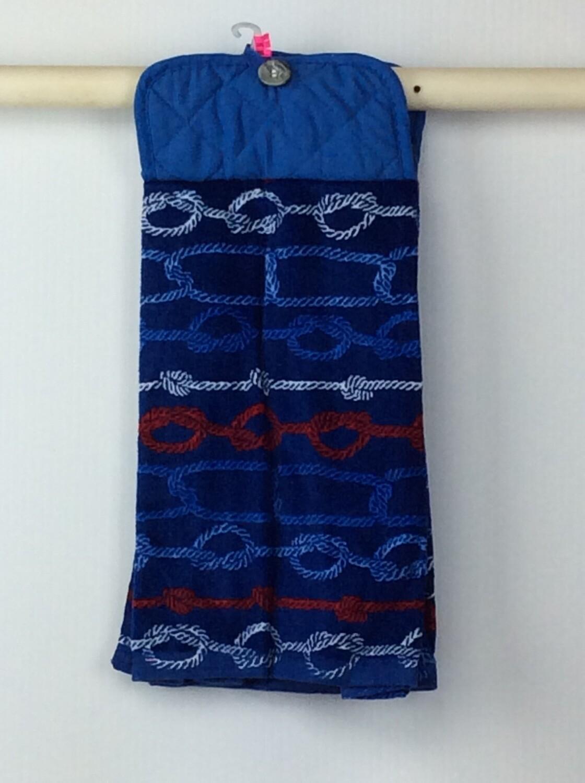 Blue knots Pot Holder Grey top towel