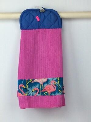 Pink Flamingo Pot Holder Grey top towel