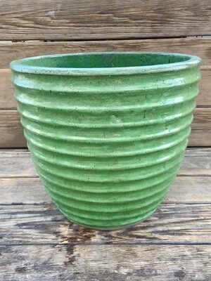Greenhouse Pot | Turquoise Ribbed Planter | 13.5