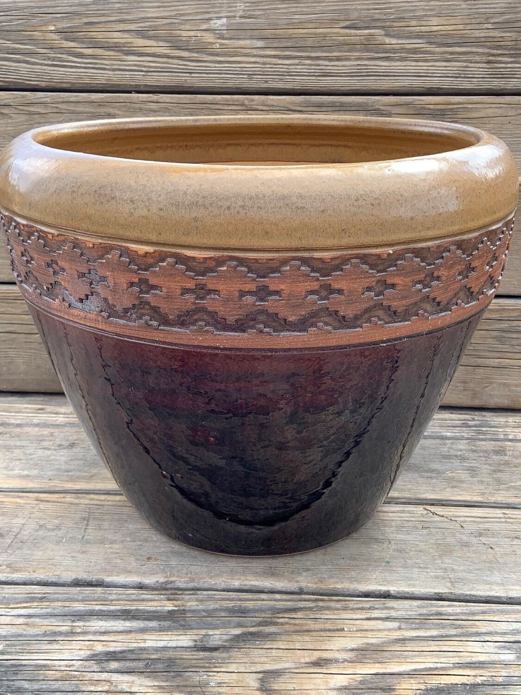 Greenhouse Pot | Glazed Granada Edged Honey/Red | 14