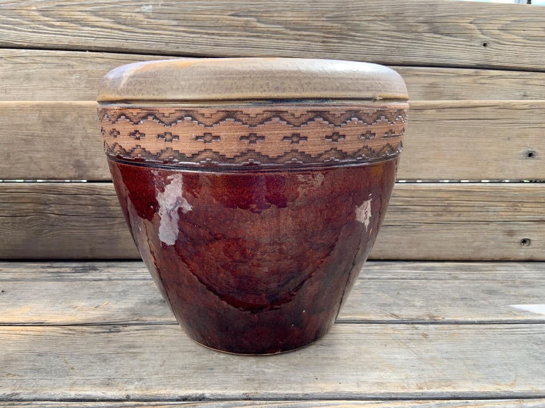 Greenhouse Pot | Glazed Granada Edged Honey/Red | 12