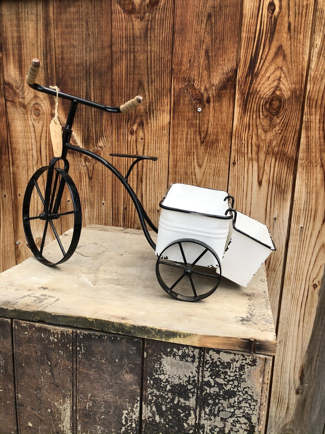 Garden Decor | Black & White Enamel Tricycle