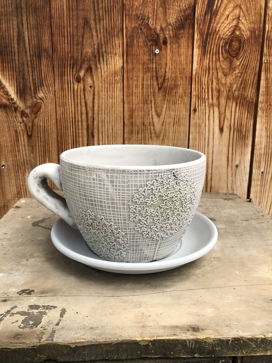 Garden Decor | Grey Teacup & Saucer Planter