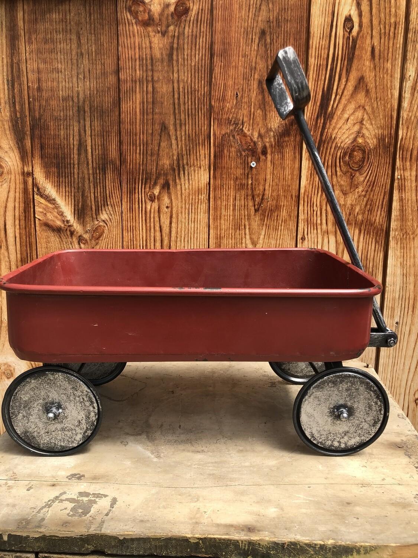 Garden Decor | Distressed Iron Red Wagon