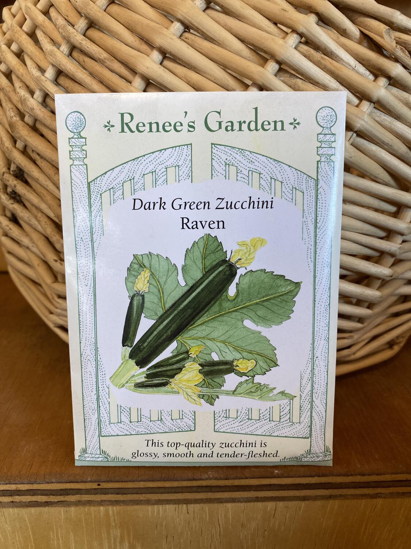 Dark Green Zucchini Raven| Renee's Garden Seed Pack | Past Year's Seeds | Reduced Price