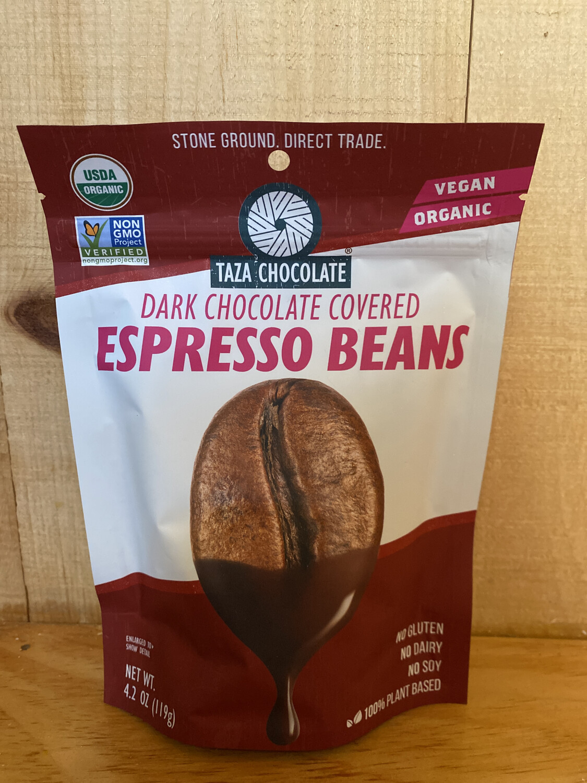 Taza Dark Chocolate Covered Espresso Beans   4.2oz