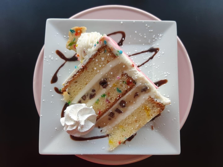 Confetti Cookie Dough Cake - Slice