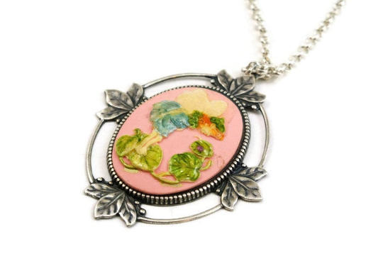 Pink Fairy Cameo Necklace