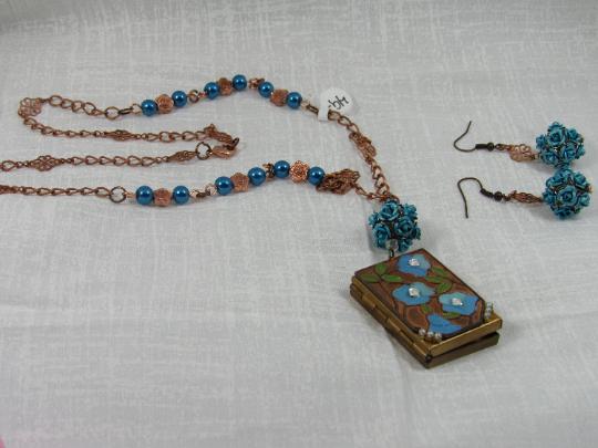 Vintage Blue Locket and earrings set