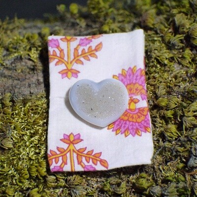 Druzy Heart with Small Courier