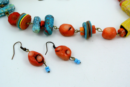 Southwestern Mixed Media, Turquoise, Coral and Polymer Clay bead