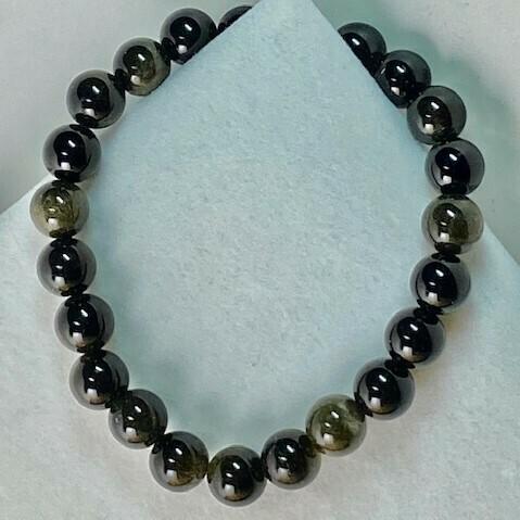 Sheen Obsidian Gemstone Bead Bracelet  8mm
