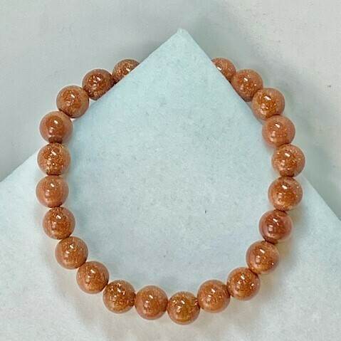 Goldstone Bead Bracelet   2 Sizes Available 6mm, 8mm