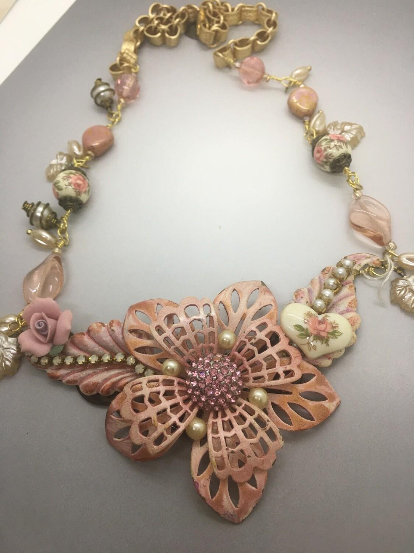 Pink floral bib necklace