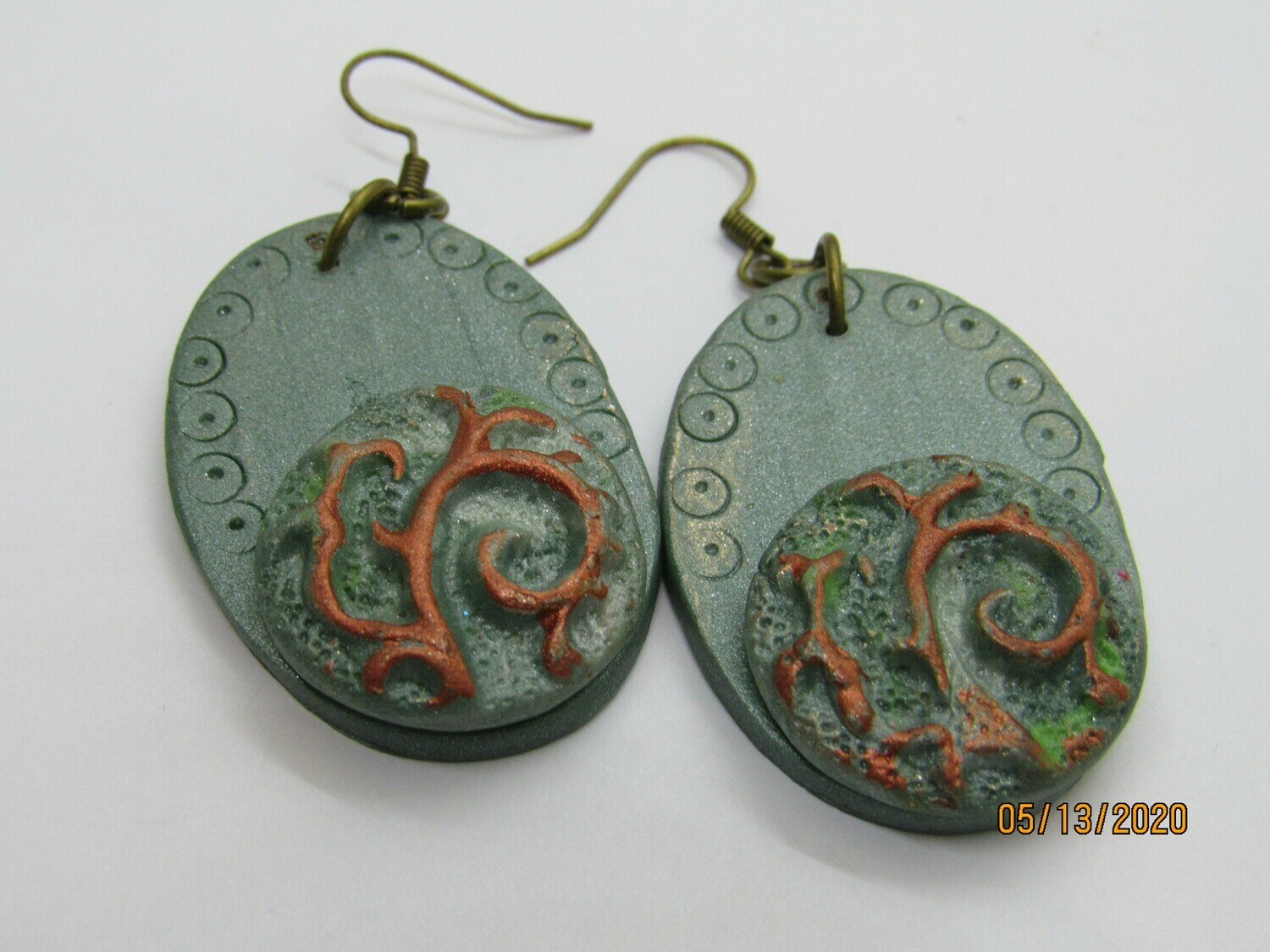 Sea Glass Green/copper Earrings