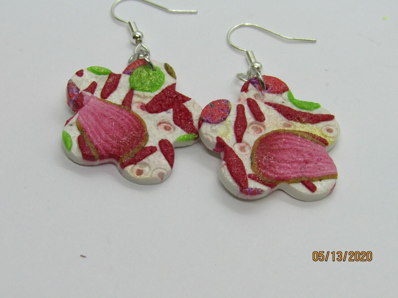 Red/White Flower earrings