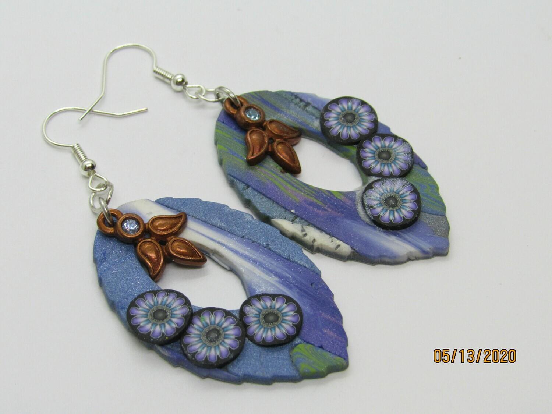 Copper/Blue Leaf earrings