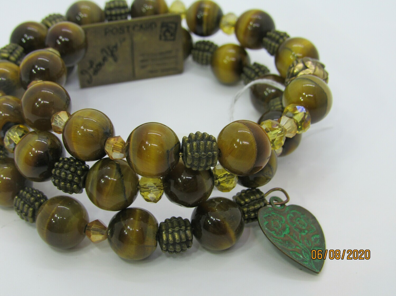 Tiger Eye Memory Wire Bracelet