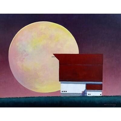 Rising Moon and Barn