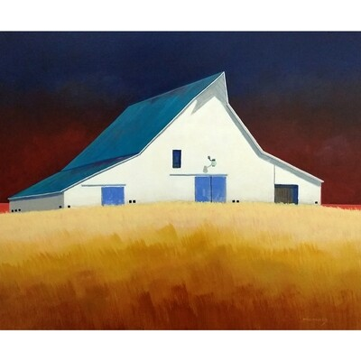 White Barn with Blue Doors