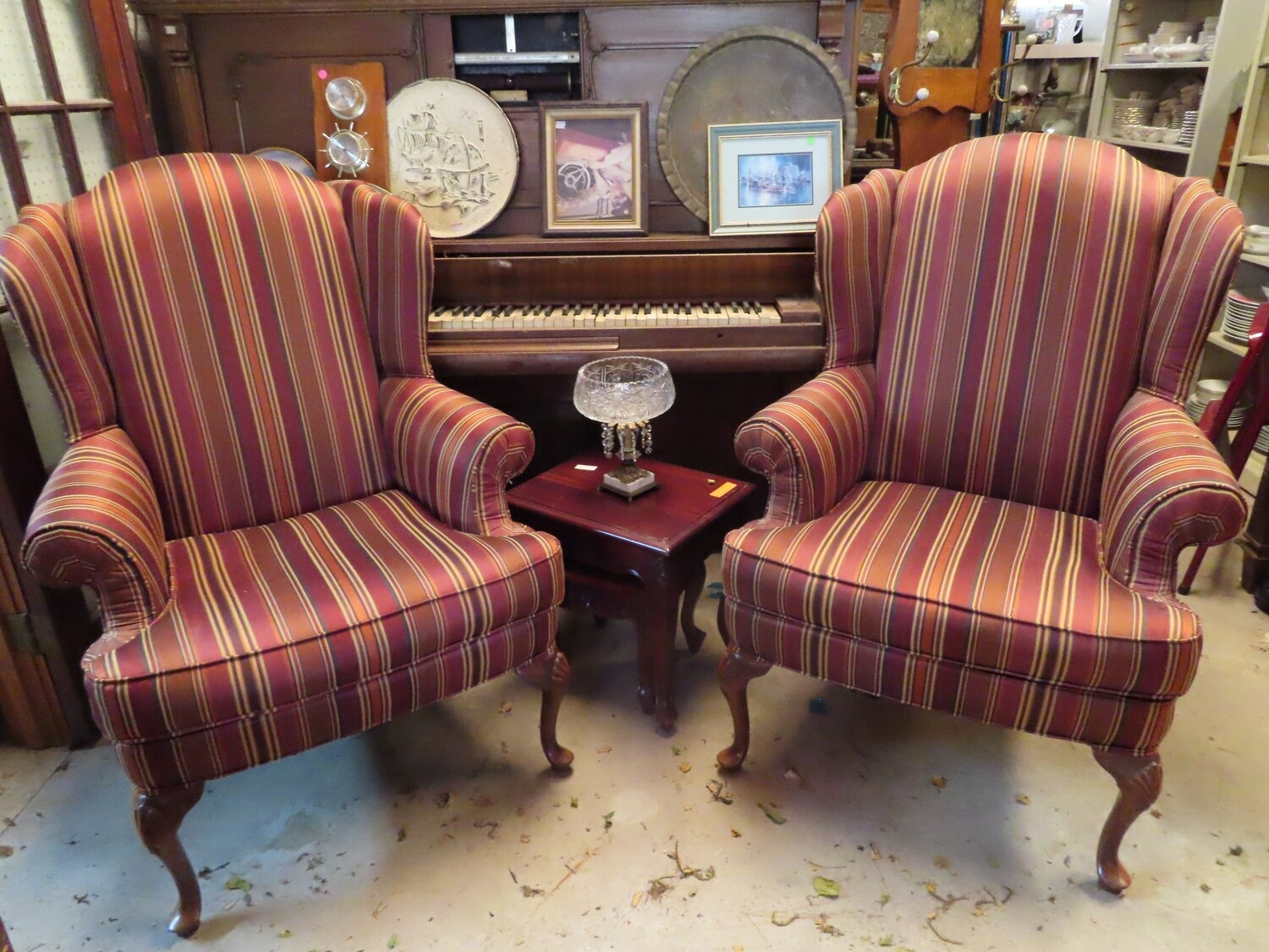 Pair Wing Back Armchairs
