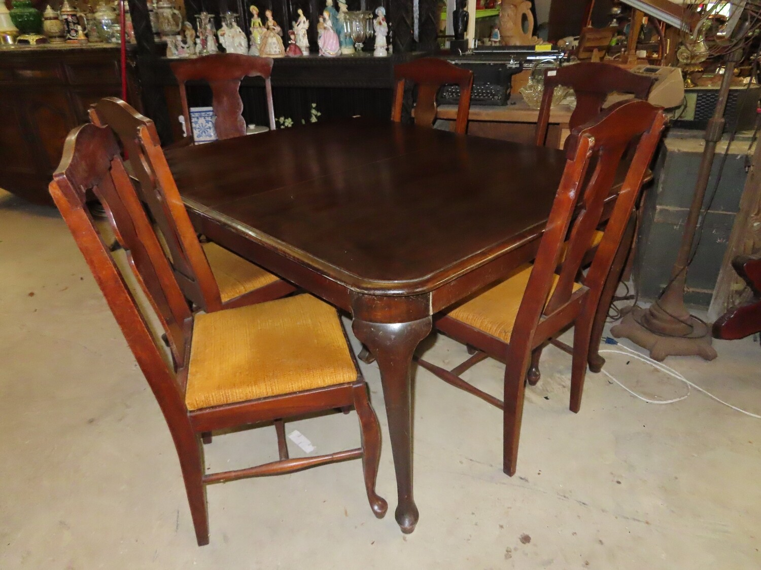 Antique Walnut Table & 6 Chairs