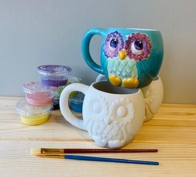 Take Home Owl Mug with Glazes - Pick up at Pet Depot