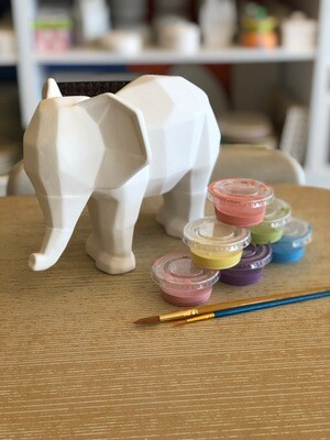 Take Home Faceted Elephant with Glazes - Pick up at Pet Depot