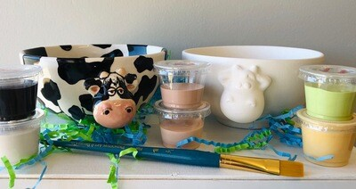 Take Home Cow Bowl with glazes - Pick up at Pet Depot