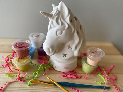 Take Home Unicorn Lantern with glazes  - Pick up at Pet Depot