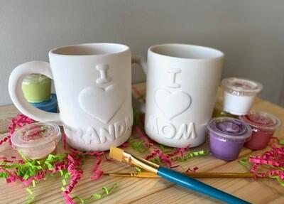 Take Home I Love Mom & I Love Grandma Mugs with glazes - Pick up at Pet Depot