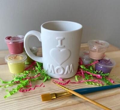Take Home I Love Mom Mug with glazes - Pick up at Pet Depot