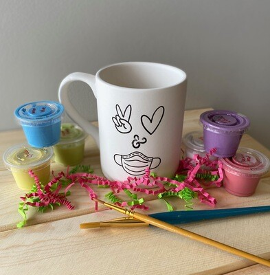 Take Home Coloring Book 12 oz Peace, Love, Mask Mug with Glazes - Pick up at Pet Depot