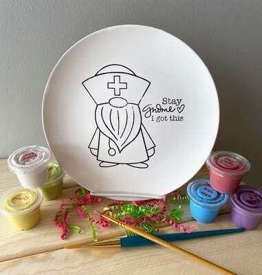 Take Home Coloring Book Stay Gnome Nurse / Doctor Plate with Glazes - Pick up at Pet Depot