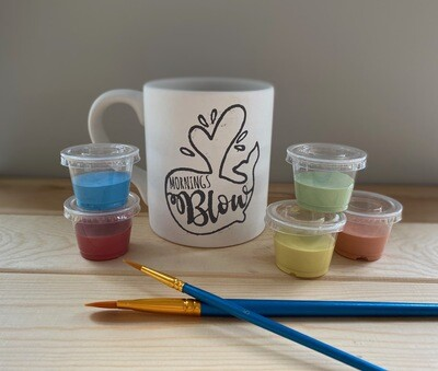 Take Home Coloring Book 12 oz Whale Mornings Blow Mug with Glazes - Pick up at Pet Depot