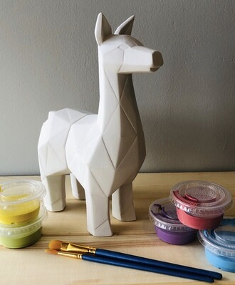 Take Home Faceted Llama with Glazes - Pick up at Pet Depot