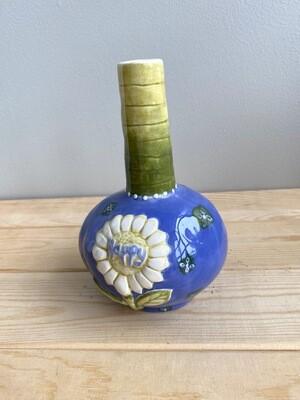 Blue & Greens Daisy Bud Vase- Sample Sale