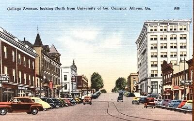 College Avenue Athens Georgia Vintage Postcard