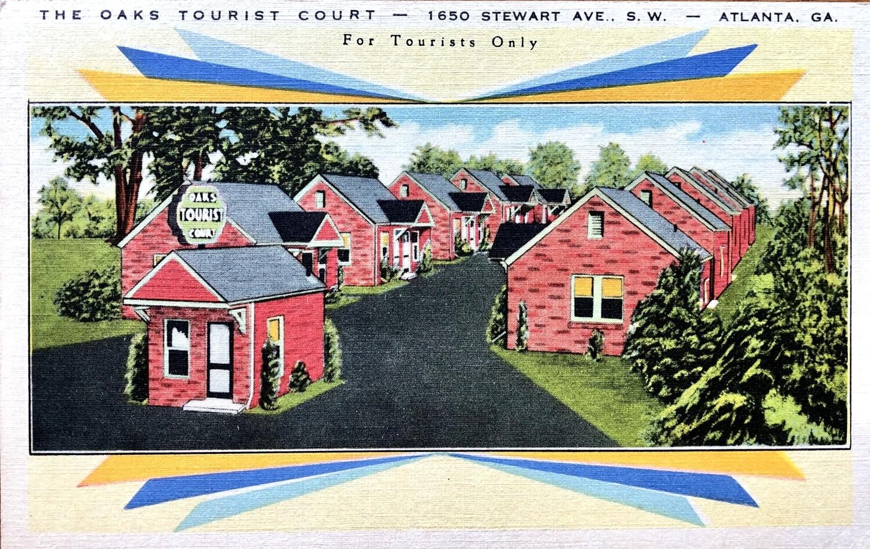 The Oaks Tourist Court Atlanta GA Vintage Postcard